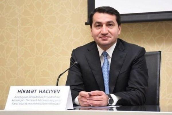 """حكمت حاجييف مساعد رئيس أذربيجان يعلن  :  وفد مجموعة """" مينسك """" التابعة لمنظمة الأمن والتعاون الأوروبي يزور باكو قريباً  لاطلاق عملية سلام جادة وفقاً لوثيقة هلسنكي الختامية وقرارات الأمم المتحدة"""